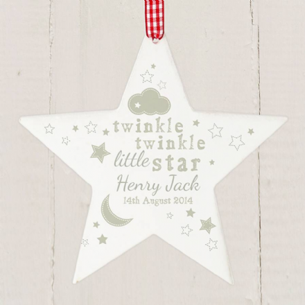 Personalised Twinkle Twinkle Wooden Star Shaped Decoration